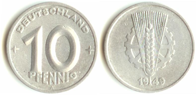 10 pfennig 1949 года цена 5 копеек 1839 года цена медь
