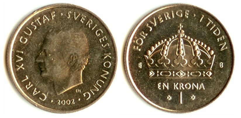 Внешний вид 1 (одной) шведской кроны 2001 года выпуска (аверс)